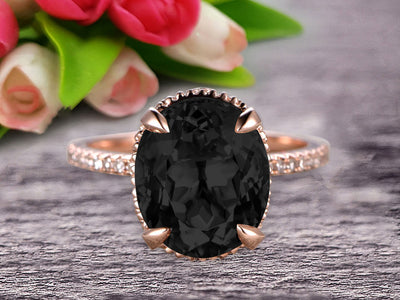 1.50 Carat Oval Cut Black Diamond Moissanite Engagement Ring Wedding Ring Anniversary Gift On 10k Rose Gold Filigree Retro Vintage Floral Set