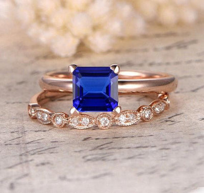 1.25 carat Sapphire and Moissanite Diamond Halo Bridal Set in 10k Rose Gold