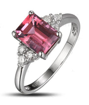 1.25 Carat emerald cut Ruby and Moissanite Diamond Engagement Ring for Women in White Gold