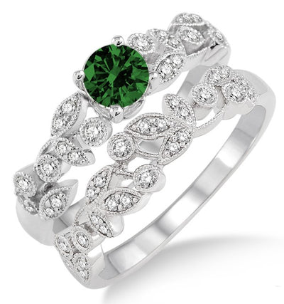 1.25 Carat Emerald Antique Flower Bridal Set on 10k White Gold