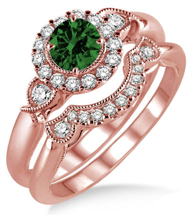 1.25 Carat Emerald Antique Three Stone Flower Halo Bridal Set on 10k Rose Gold