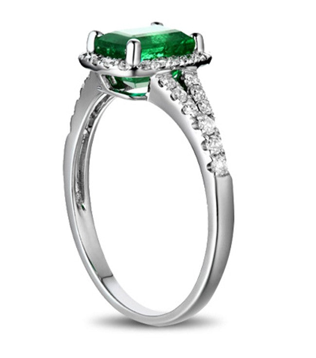 1.25 Carat Green Emerald and Moissanite Diamond Engagement Ring in White Gold