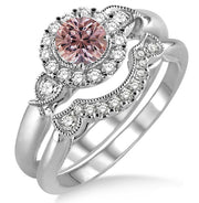 1.25 Carat Morganite and Diamond Engagement Ring in 10K White Gold