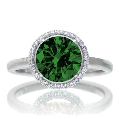 1.25 Carat Round Cut Classic Halo Emerald and Moissanite Diamond Engagement Ring on 10k White Gold