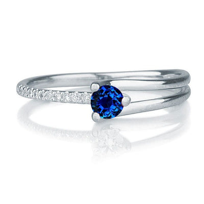 1.25 carat Round Cut Sapphire and Moissanite Diamond Engagement Ring in 10k White Gold