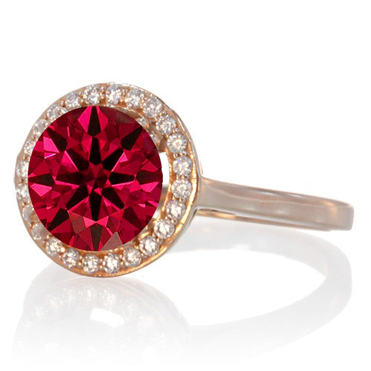 1.25 Carat Round Halo Classic Moissanite Diamond and Ruby Engagement Ring on 10 Rose Gold