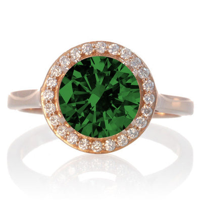 1.25 Carat Round Halo Classic Moissanite Diamond and Emerald Engagement Ring on 10 Rose Gold