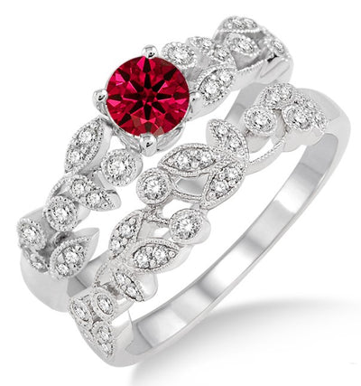 1.25 Carat Ruby Antique Flower Bridal Set on 10k White Gold