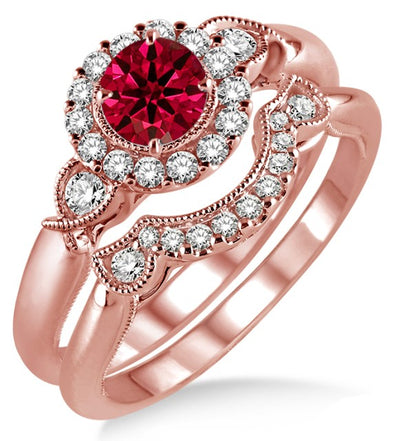 1.25 Carat Ruby Antique Three Stone Flower Halo Bridal Set on 10k Rose Gold