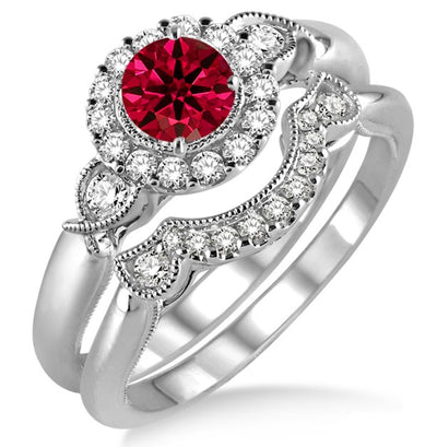 1.25 Carat Ruby Antique Three Stone Flower Halo Bridal Set on 10k White Gold