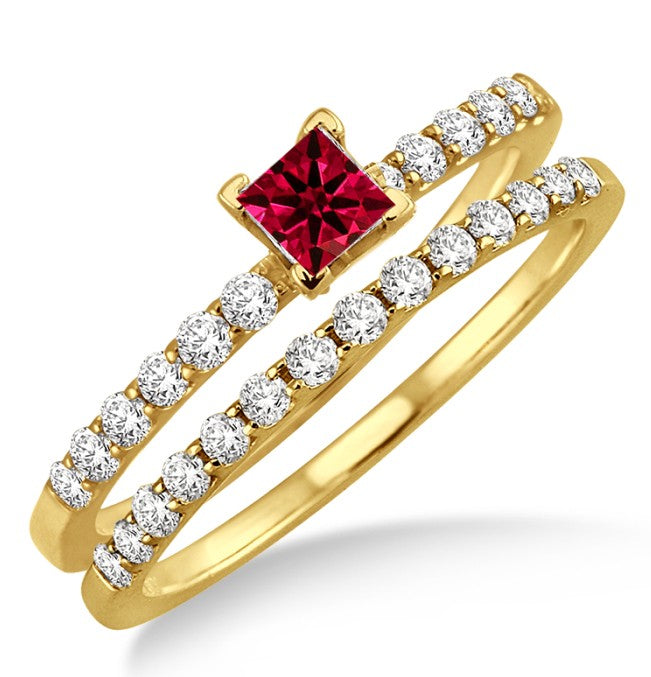 1.25 ct Ruby Bridal Set on 10k Yellow Gold