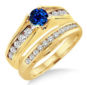 1.25 Carat Sapphire and Moissanite Diamond Bridal Set on 10k Yellow Gold