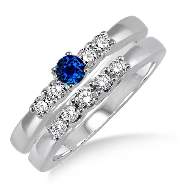 1.25 Carat Sapphire and Moissanite Diamond Elegant 5 stone Bridal Set on 10k White Gold