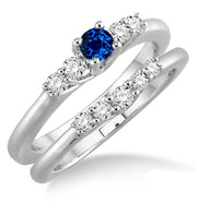 1.25 Carat Sapphire and Moissanite Diamond Inexpensive Bridal Set on 10k White Gold