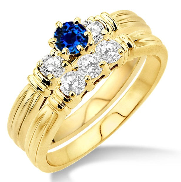 1.25 Carat Sapphire and Moissanite Diamond Three Stone Bridal Set on 10k Yellow Gold
