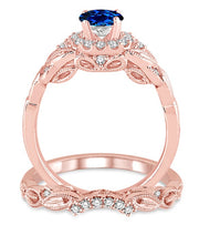 1.25 Carat Sapphire and Moissanite Diamond Vintage floral Bridal Set Engagement Ring on 10k Rose Gold