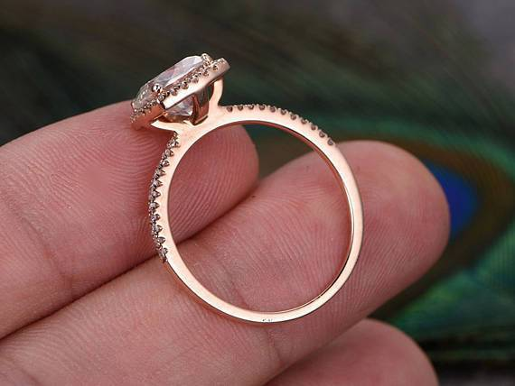 Antique Style 1.50 Carat Moissanite and Diamond Halo Engagement Ring in Rose Gold
