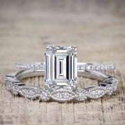 Emerald cut Moissanite and Diamond Wedding Bridal Ring Set with 1.25 Ct in White Gold