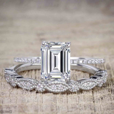 Emerald cut Moissanite and Diamond Wedding Bridal Ring Set with 1.25 Ct