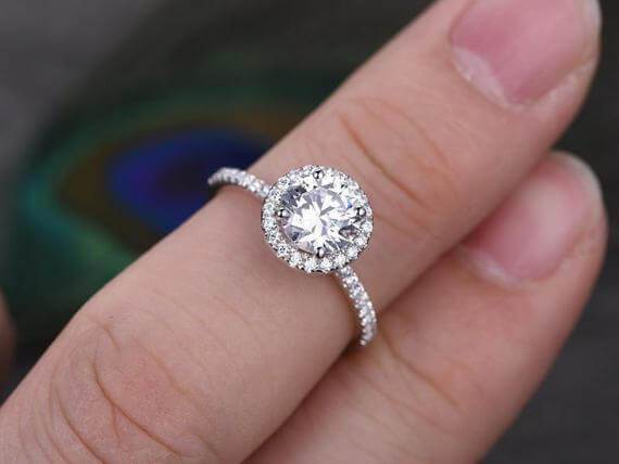 Art Deco 1.50 Carat Halo Wedding Ring in Moissanite and Diamond