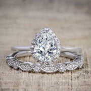 Best Seller Pear Cut 2.50 Carat Moissanite and Diamond Wedding Trio Ring Set in White Gold