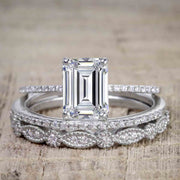 1.50 Carat Moissanite & Diamond Trio Bridal Ring Set in Emerald cut and 10k White Gold