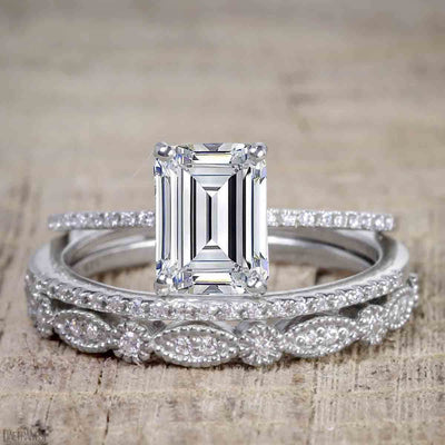 1.50 Carat Moissanite & Diamond Trio Bridal Ring Set in Emerald cut