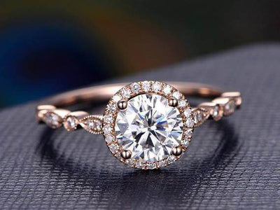 Vintage 1.50 Carat Moissanite and Diamond Halo Ring