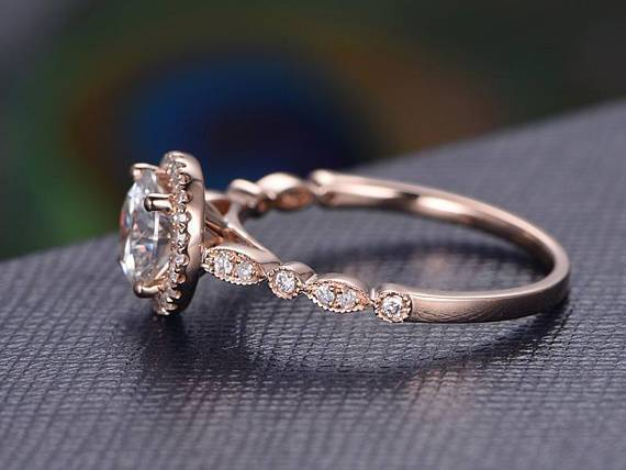 Vintage 1.50 Carat Moissanite and Diamond Halo Ring in 10k Rose Gold