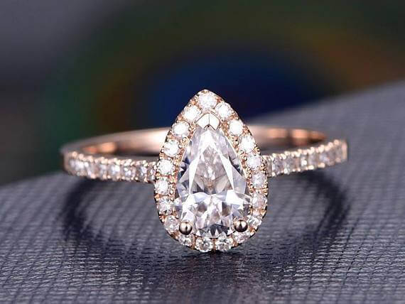 Classic Pear cut Halo 1.50 Ct Moissanite &  Diamond Engagement Ring in Rose Gold