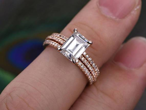 Best Seller 2 Ct Moissanite & Diamond Trio Bridal Ring Set in Rose Gold