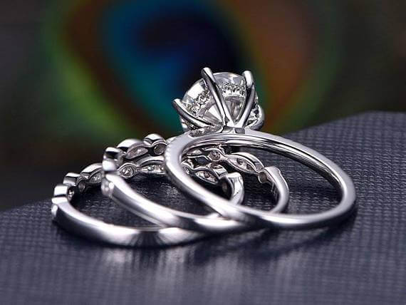 Art deco 2 Carat Moissanite and Diamond Trio Wedding Set in White Gold