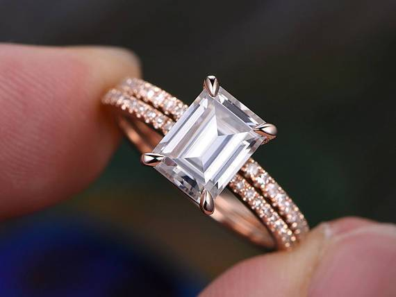 Vintage 2 Carat Moissanite and Diamond Halo Bridal Set in Rose Gold