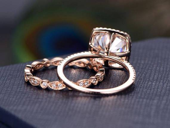 Art deco 2 Ct Moissanite and Diamond Halo Wedding Ring Set in Rose Gold