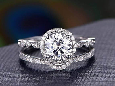 2 Carat Halo Moissanite and Diamond Bridal Ring Set in 10k White Gold