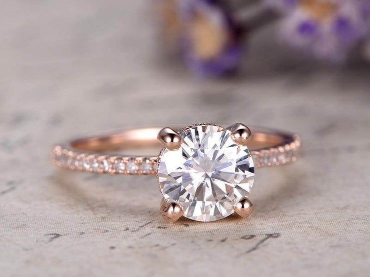 1.25 Carat Solitaire Moissanite and Diamond Engagement Ring in Rose Gold