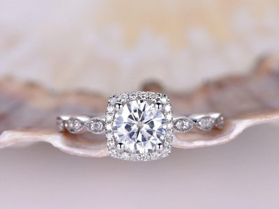Classic 1.50 Carat Moissanite and Diamond Wedding Ring