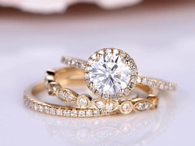 2.25 Carat Moissanite and Diamond Bridal Trio Ring Set