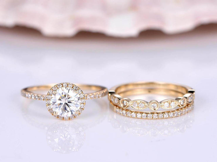 2.25 Carat Moissanite and Diamond Bridal Trio Ring Set in Yellow Gold