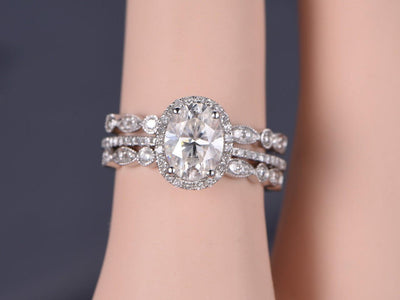 Popular 2.25 Carat Moissanite & Diamond Engagement Trio Ring Set in White Gold