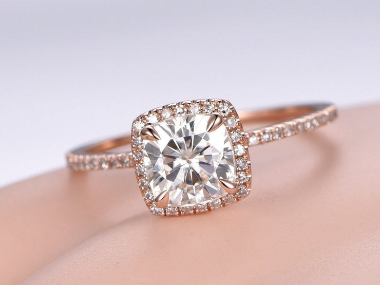 Cushion Cut 1.50 Carat Halo Moissanite and Diamond Wedding Ring in Rose Gold