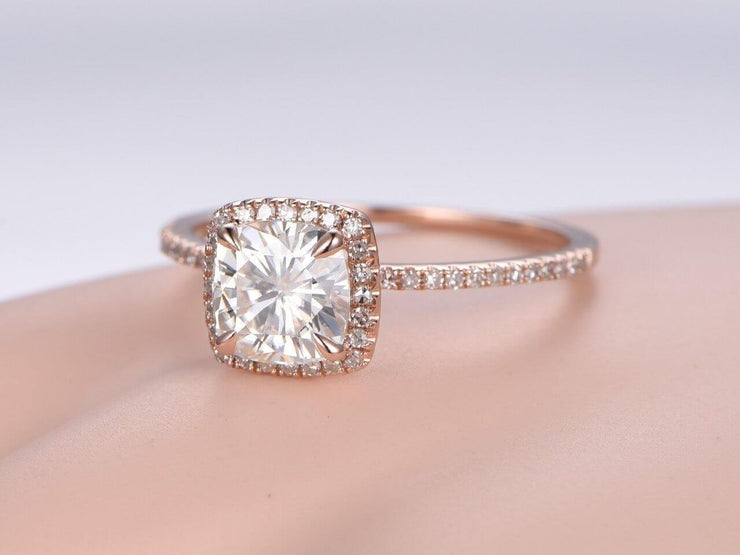 Cushion Cut 1.50 Carat Halo Moissanite and Diamond Wedding Ring