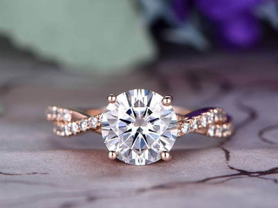 Round cut 1.25 Ct infinity style Moissanite & Diamond Engagement Ring in Rose Gold