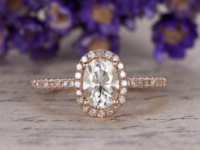 Classic Oval Cut 1.50 Ct Moissanite and Diamond Halo Wedding Ring