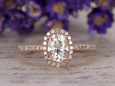 Classic Oval Cut 1.50 Ct Moissanite and Diamond Halo Wedding Ring in Rose Gold