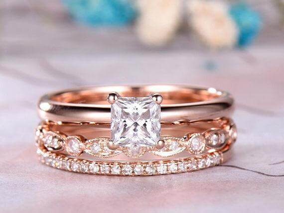 a37c8ed73e131 Vintage 2 ct Moissanite & Diamond Trio Wedding Ring Set in Rose Gold