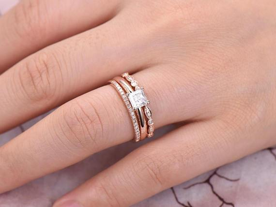 Vintage 2 ct Moissanite & Diamond Trio Wedding Ring Set in Rose Gold