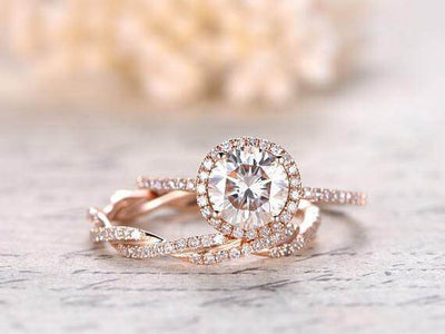 Art deco 1.50 Carat Halo Moissanite & Diamond Wedding Ring Set