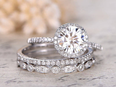 Art deco 2 Ct Moissanite and Diamond Trio Wedding Ring Set in 10k White Gold