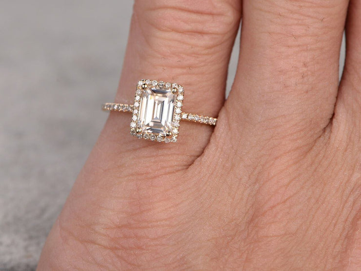 Best 1.25 Ct Moissanite and Diamond Ring with Emerald cut